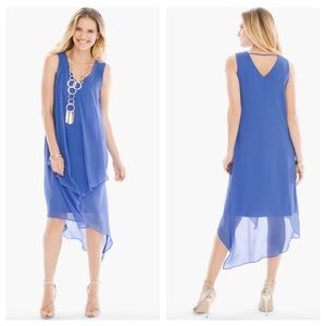 CHICO'S Blue Ruffle Sleeveless Asymmetrical Dress